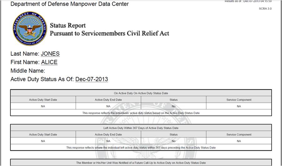 military service certificate