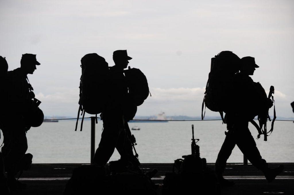 Line of Soldiers Walking